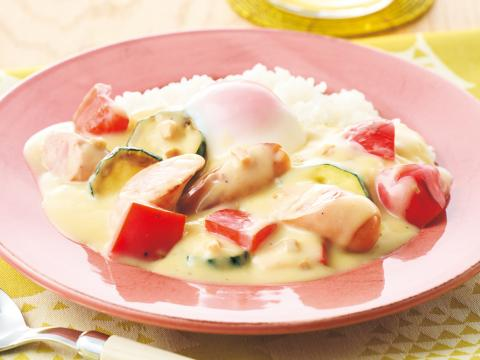 夏野菜のカルボナーラご飯